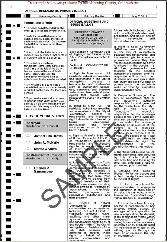 VIEW SAMPLE Nov. 4th Youngstown BALLOT - Vote YES! on Issue #4